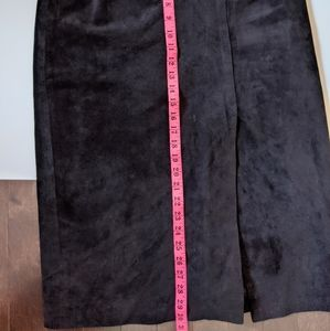 Skirts - Vintage black leather waistband  suede skirt
